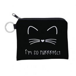 Jomtokoy śliczny nadruk z kotem wodoodporna torebka woreczek na klucze mały zamek moneta kiesa posiadacz karty Mini kwadratowy p