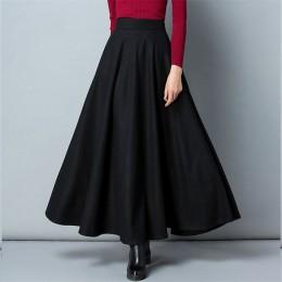 Zimowa długa wełniana spódnica trapezowa zwiewna z wysokim stanem klasyczna miękka lekka oryginalna modna