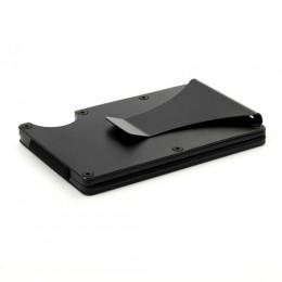 Nowe etui na karty kredytowe z włókna węglowego RFID pieniądze zacisk etui na dowód osobisty gumką Mini metalowy portfel na kart