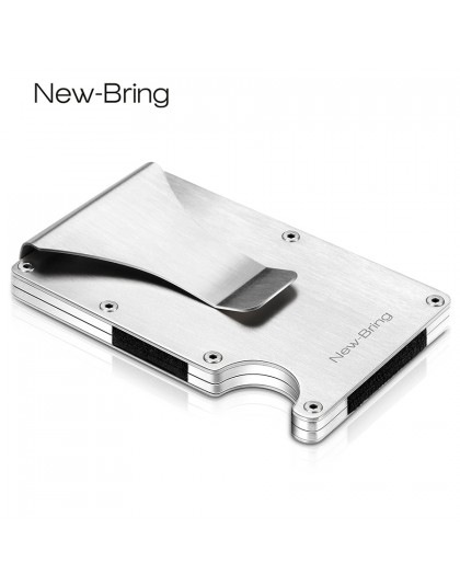 NewBring Slim metalowe etui na karty kredytowe z RFID anty-chief Travel Mini portfel człowiek na portfel RFID