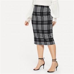 SHEIN czarna porządna damska Plus rozmiar elegancka spódnica ołówkowa wiosna jesień urząd Lady odzież robocza rozciągliwe Bodyco