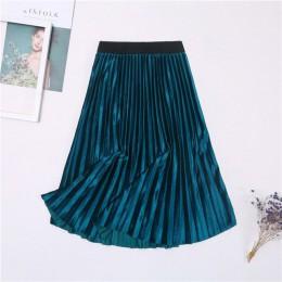 Nowy 9 kolorów panie jesień zima długa spódnica kobiet wysokiej zwężone miękkie Skinny kobiet aksamitne plisowane spódnice elega