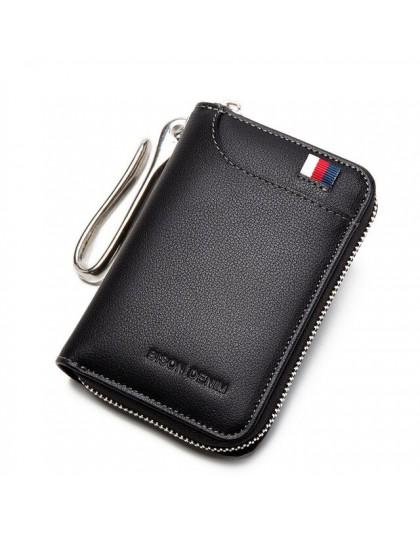 BISON DENIM prawdziwy skórzany na klucze portfel męski etui na kluczyk pokrowiec na karty na zamek portfel klucz organizator o d
