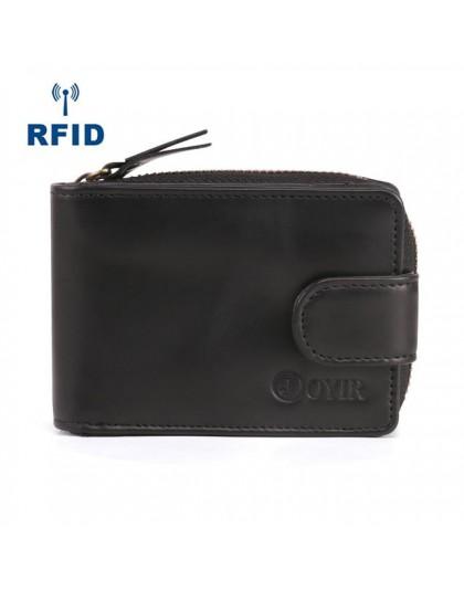 JOYIR etui na identyfikator karty kredytowej portfel ze skóry naturalnej męskie wizytówki portfel RFID o dużej pojemności posiad