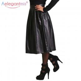 Aelegantmis wysokiej jakości Pu skórzana spódnica kobiet wiosna jesień wysokiej talii długa plisowana spódnica pani Casual solid
