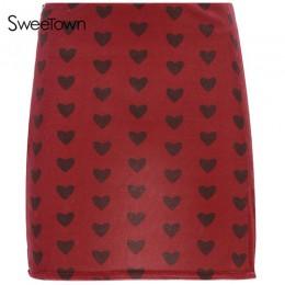 Sweetown czerwona aksamitna spódnica z wysokim stanem Streetwear nadruk w kształcie serca Zipper śliczne spódnice damskie styl p
