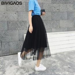 BIVIGAOS 2019 letnie kobiety spódnica z tiulu plisowana spódnica czarny wysokiej talii spódnice midi cienka szyfonowa siatka prz