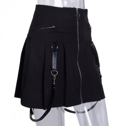 InstaHot Halloween Gothic linia spódnice kobiety jesień Zipper plisowana, w kratę szkoła Mini spódnica pasek Sexy solidna Suspen