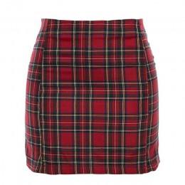 Sisterlinda prosty czerwony krótki, obcisły spódnica w kratę kobiet 2019 moda lato wysokiej talii Mini spódnica Streetwear krótk