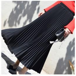 Damska Vintage plisowana spódnica Midi długie kobiece koreańskie casual spódnice szyfonowe z wysokim stanem Jupe Faldas 18 kolor