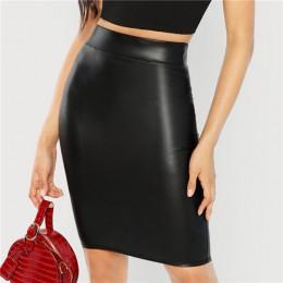 SHEIN czarny szeroki pasek solidna obcisła spódnica elegancka odzież robocza kolano długość średnio wysoka talia spódnice kobiet