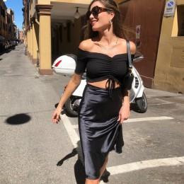 BOOFEENAA elegancka seksowna satyna jedwabiu wysokiej talii długa spódnica 2019 moda Casual Line spódnice damskie różowy żółty c