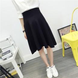2019 nowa seksowna damska spódnica z dzianiny jesienno-zimowa jednolity wysoki stan spódnice midi linia plisowana spódnica kobie