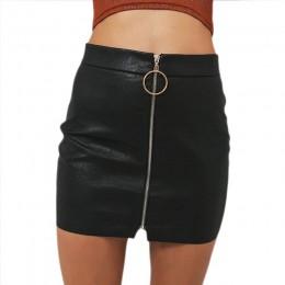 Seksowne spódnice damskie seksowna spódnica z wysokim stanem PU skóra jesień metalowa obręcz Zipper spódnica ołówkowa dopasowana