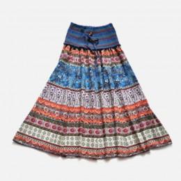 W stylu boho w kwiaty linia damska długa spódnica elastyczny, wysoki stan skrzydła Vintage plisowane spódnice damskie 2020 letni