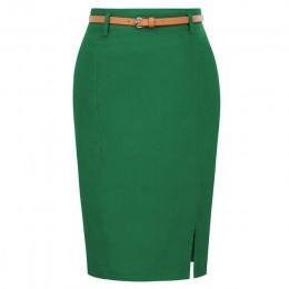 KK odzież do pracy spódnice ołówkowe damskie jednokolorowe rozszczepione szarfy zdobione Hip wrap obcisła spódnica sexy eleganck