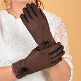 40 kobiety ciepłe rękawice zimowe miękkie sztuczny zamsz grube rękawiczki pełne Finger Glovees piękny pluszowa piłka koronkowe