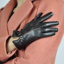 Gorące zimowe oryginalne skórzane rękawiczki kobiety 2019 marka kożuch ciepłe jednolity kolor kobiet prawdziwe owce Lady Fashion