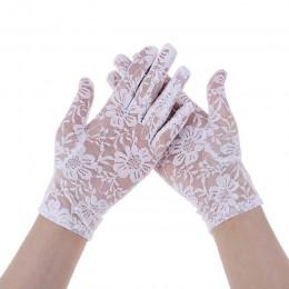 1 para kobiet Sexy koronkowe rękawiczki do jazdy wiosną i latem kobiet cienka koronka rękawice przeciwsłoneczne damskie krótkie