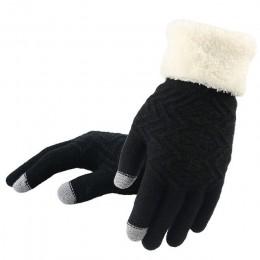 Dorywczo rękawiczki damskie zimowe poliestrowe geometryczne dziewiarskie solidne rękawiczki oraz aksamitne grube pełne rękawiczk