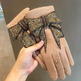 Luksusowe markowe rękawiczki zimowe rękawiczki damskie kaszmirowe rękawiczki damskie z błyszczącą kokardką wysadzaną kryształkam
