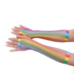 Hot Trendy rękawiczki damskie Hollow Out otwory rękawice tęczowy, nadruk w Disco kostium taneczny wydajność bez palców siatki ka