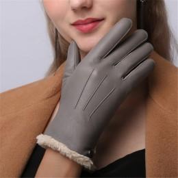 Wysokiej jakości oryginalne skórzane rękawiczki damskie jesienno-zimowa oraz aksamitna moda szczupła ręka ciepłe rękawice z owcz
