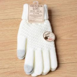 Kobiety mężczyźni ciepłe rękawiczki zimowe do ekranów dotykowych Stretch dzianinowe rękawiczki wełniane pełne palce Guantes dams
