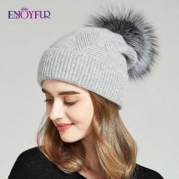 ENJOYFUR czapki zimowe dla kobiet futro naturalne czapka z pomponem ciepła wełna Slouchy czapki dla kobiet moda Skullies Lady ka