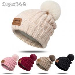 Moda czapka zimowa dla kobiet miękkie grube ciepła czapka Beanie na zimę kapelusz jednolity kolor dzianiny czapka z pomponem odz
