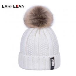 Evrfelan gorąca sprzedaż Pompom damska czapka zimowa czapka dzianinowa dodatkowo pogrubiony ciepły Skullies czapka Beanie kobiet