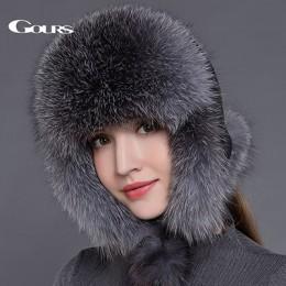 Gours futro kapelusz dla kobiet naturalne futro szopa futro rosyjska uszanka czapki zimowe grube ciepłe uszy moda Bomber Cap cza