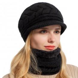 AETRUE Skullies czapki damskie czapka z dzianiny szalik damskie czapki zimowe dla kobiet Bonnet solidna kominiarka Feminino czap