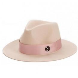 OZyc panie różowa wełna feodra kapelusz zima kobiet M list wełna Jazz fedoras różowy kapelusz dla kobiet duże rondo kowboj panam