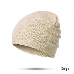 Evrfelan zima jesień czapki Beanie kobiety miękka dzianina Skullies czapka Beanie kobieta moda Rhinestone bawełniany kapelusz cz