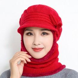 2018 kobieta szyi cieplej jesień czapki zimowe maska kobiety czapka zimowa czapki z dzianiny zestaw szalików czapka czapki narci