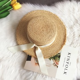 Luna & Dolphin Handmade kobiety lato kapelusz słońce plaża rafia słomkowy kapelusz czarna biała kokardka wstążka czapka Temperam