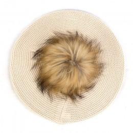 Geebro Slouchy Fashion Beret z dzianiny dla kobiet czapki akrylowe Faux futrzany pompon Pom Casual czapki z daszkiem kobiece sta
