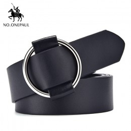 NO.ONEPAUL prawdziwa jakość moda damska najnowsza bezigłowa metalowa okrągła klamra pas dżinsy dzika luksusowa marka pas dla kob