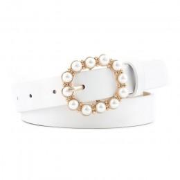 Fashion Pearl ozdobny pas pasek damski okrągły ze sprzączką pasy perłowe damski Casual twarda skóra ekologiczna cienki pasek