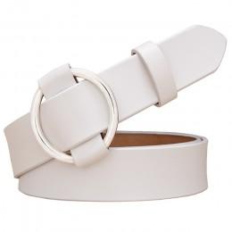 Moda okrągły pierścieniowa klamra pas kobieta prawdziwej skóry pasy dla kobiet jakości skóra bydlęca pasek kobiet pas do dżinsów