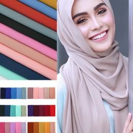 Kobiety zwykły bańka szal szyfonowy hidżab wrap printe szale w jednolitym kolorze pałąk muzułmańskie hidżaby szaliki/szalik 60 k
