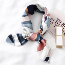 Kwadratowy jedwabny szalik kobiety modny nadruk z wąską szyjką szaliki urząd Lady Hair Band Foulard Hand chustka kobieta chustka