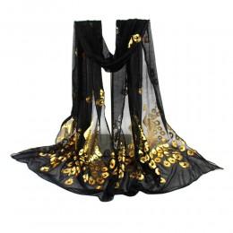 Szalik kwiat paw drukowanie długie szale damskie szale damskie dziewczęce miękkie 160cm Wrap szalik jesienne i zimowe szale pawi