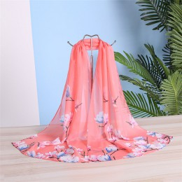 Zupełnie nowy szal szyfonowy kobiety wiosna lato szale jedwabne cienki kwiat szale i okłady Foulard drukuj hidżab etole hurtowni