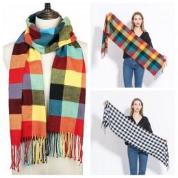 2019 gorąca sprzedaż plaid cashmere kobiety szalik zimowy ciepły szal i okłady chustka pashmina miękkie długie pomponem kobiet c