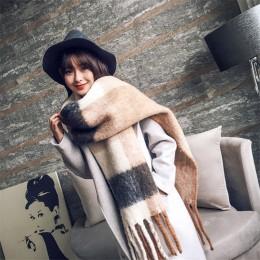 2020 nowych moda cashmere kobiety szalik w kratkę zima ciepły szal i wrap bandana pashmina długi tassel kobieta foulard gruby ko