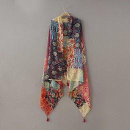 Moda damska afrykańskie etniczne patchwork z kwiatowym wzorem pomponem wiskoza szalik zimowy tłumik pałąk Foulard Sjaal Wrap hid