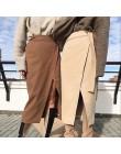 Khaki zamszowe długie spódnica kobiety jesień zima w stylu casual, kopertowa spódnica koronki Up kobiety spódnica midi z wysokim