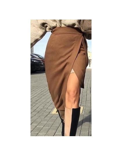 Kopertowa asymetryczna spódnica damska młodzieżowa elegancka klasyczna zamszowa z wysokim stanem wiązana w talii